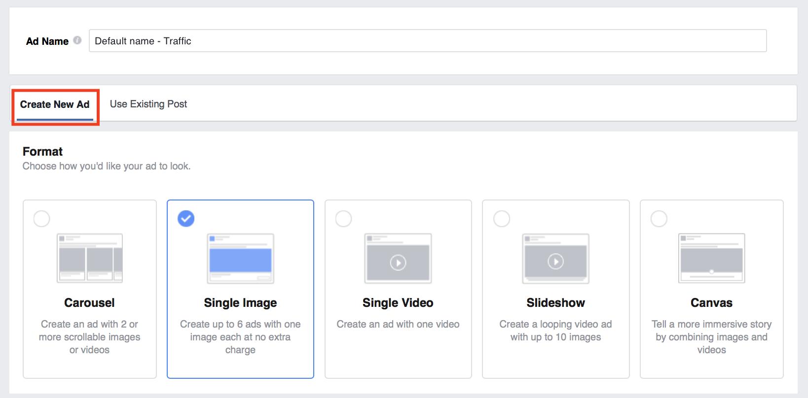 create new ad on facebook