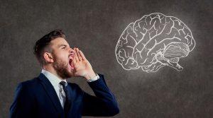 A man screams at the brain.