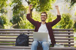 successful man at his computer