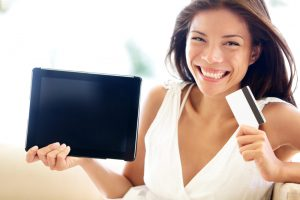 Internet shopping woman online with tablet pc