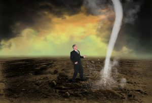 sales funnel man with tornado