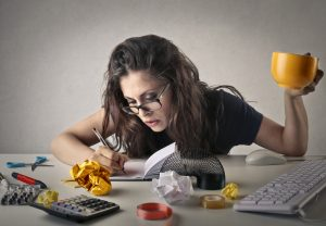 busy woman at desk