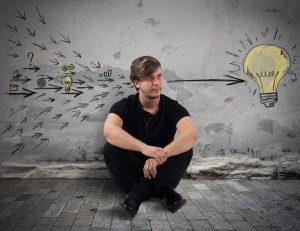 man creates great idea