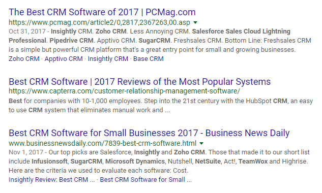 CRM software google search results