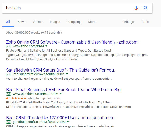 best crm google search results
